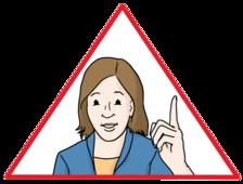 Eine Frau hebt ihren Zeigefinger hoch.