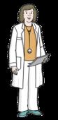 Dsa Bild zeigt eine Frau. Die Frau hat einen weißen Doktor-Mantel an.