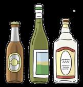 Bierflasche, Weinflasche, Wodkaflasche