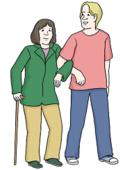 Hilfe - Das Bild zeigt eine alte Frau und einen jungen Mann. Der junge Mann stüzt die alte Frau.