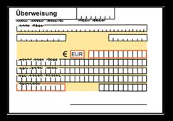 Das Bild zeigt einen Banküberweisungs-Schein.