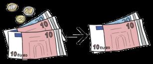 Das Bild zeigt Geldscheine. Die Geldscheine in zwei Haufen getrennt.