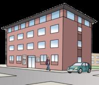 Das  Bild zeigt ein großes Gebäude. In dem Gebäude sind Büros.