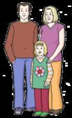 Das Bild zeigt einen erwachsenen Mann, eine erwachsene Frau und ein junges Mädchen.