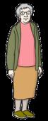 Das Bild zeigt eine alte Frau mit grauen Haaren.