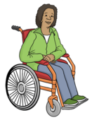 Das Bild zeigt eine Frau. Die Frau sitzt im Rollstuhl.