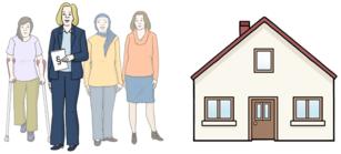 Das Bild zeigt vier Frauen und ein großes Haus.