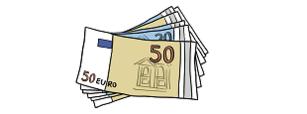Das Bild zeigt viele Geldscheine.