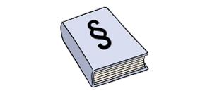 Das Bild zeigt ein Buch. Das Buch hat ein Zeichen für Gesetzes-Paragraf auf dem Einband.