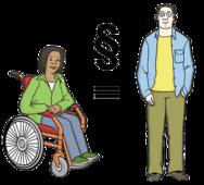 Das Bild zeigt eine Rollstuhlfahrerin und einen Mann. Zwischen ihnen steht ein Gleichheitszeichen. Das bedeutet sie haben die gleichen Rechte.