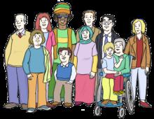 Dsa Bild zeigt viele Menschen. Die Menschen haben unterschiedliche Hautfarben. Sie sind auch unterschiedlich alt.