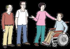 Das Bild zeigt eine Gruppe von Menschen. Ein Mann sitzt im Rollstuhl. Alle unterhalten sich gemeinsam.