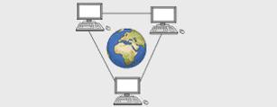 Das Bild zeigt eine Weltkugel und drei Computer. Die Computer sind miteinander verbunden.