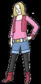 Das Bild zeigt ein junges Mädchen. Sie trägt auffällige Kleidung.