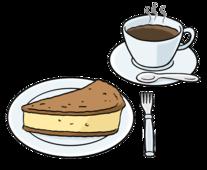 Das Bild zeigt eine Kaffee-Tasse und ein Stück Kuchen.