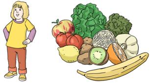 Das Bild zeigt ein kleines Mädchen und Bananen, Äpfel, Salat und Karotten.