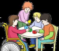 Vier Kinder spielen zusammen an einem Tisch.