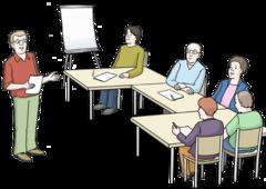 Menschen sitzen an Tischen. Vor den Menschen steht ein Lehrer.