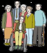 Das Bild zeigt alte Menschen.