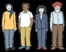 Das Bild zeigt vier Menschen. Ein Mann hat dunkle Haut. Eine Frau hat ein Kopftuch auf. Eine Frau sieht asiatisch aus.