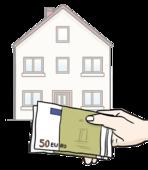 Das Bild zeigt ein Haus und eine Hand. Die Hand hält Geldscheine.