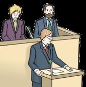 Drei Menschen stehen vor einem Redner-Pult. Sie haben feine Anzüge an.