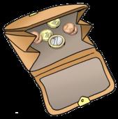 Das Bild zeigt einen Geldbeutel. In dem Geldbeutel sind wenige Münzen.