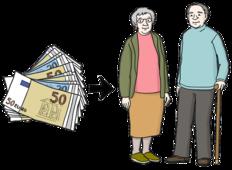 Das Bild zeigt zwei alte Menschen. Die alten Menschen bekommen Geld.