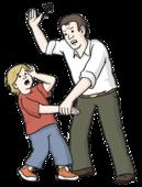 Ein Mann hält ein Kind fest. Der Mann hebt die Hand hoch. Er will das Kind schlagen.