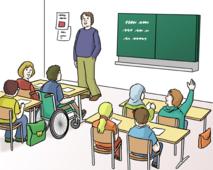 Das Bild zeigt ein Klassenzimmer.