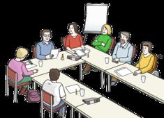 Das Bild zeigt viele Menschen an einem Tisch. Die Menschen reden miteinander.