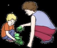 Das Bild zeigt eine Frau. Die Frau spielt mit einem Kind.
