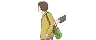 Das Bild zeigt eine Frau mit einer Handtasche. Eine Hand greift in die Handtasche. Die Hand zieht einen Geldbeutel heraus.