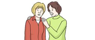 Das Bild zeigt zwei Frauen. Eine Frau ist traurig. Die andere Frau umarmt sie.