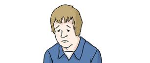 Das Bild zeigt das Gesicht von einem Mann. Er ist traurig.
